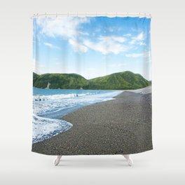 Blue Sky Black Sand Photography Print Shower Curtain