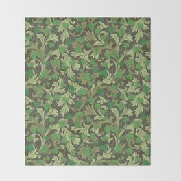 Green ivy with ornament on dark brown background Throw Blanket