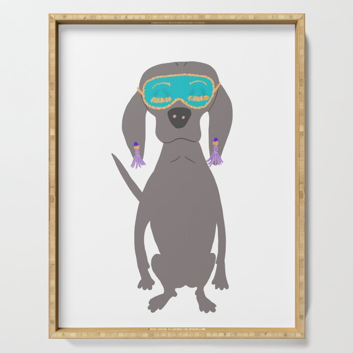 Weim in Holly's Aqua Sleeping Mask Grey Ghost Weimaraner Dog Hand-painted Pet Drawing Serving Tray