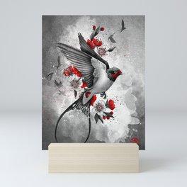 swallows and sakuras Mini Art Print