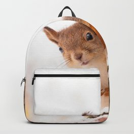 Squirrel in first snow #decor #buyart #society6 Backpack