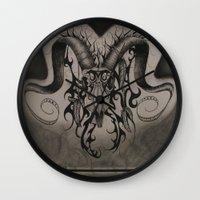 ram Wall Clocks featuring RAM by ERINN CALLA LYONS