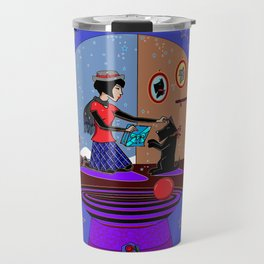 Snow Globe of Girl with Scotty Dog Travel Mug