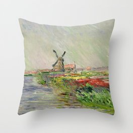 Monet, Tulip Field in Holland, 1886 Throw Pillow