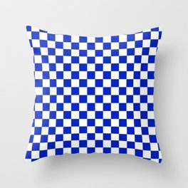 Cobalt Blue and White Checkerboard Pattern Throw Pillow