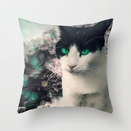 Black And White Cat Green Eyes  Sitting By See Throw Pillow
