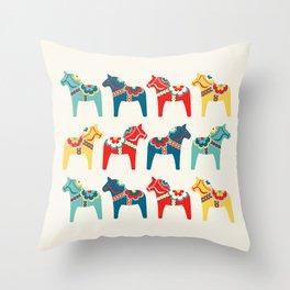Swedish Horses Throw Pillow