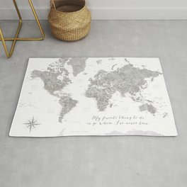 Where I've never been detailed world map in grey Rug