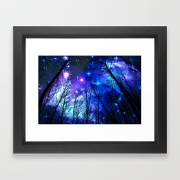 black trees purple blue space copyright protected Framed Art Print