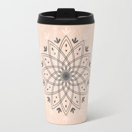 Bohemian Floral Mandala on Rose Pink Marble Travel Mug
