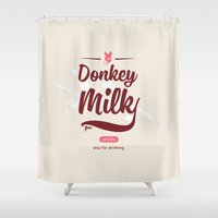 donkey Shower Curtains featuring Donkey Milk by Flester