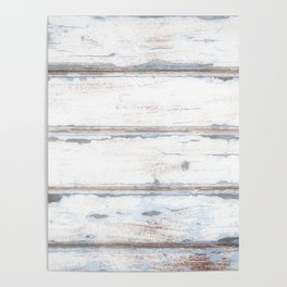 Old Painted Planks In Fog, Wood Texture Decor Poster