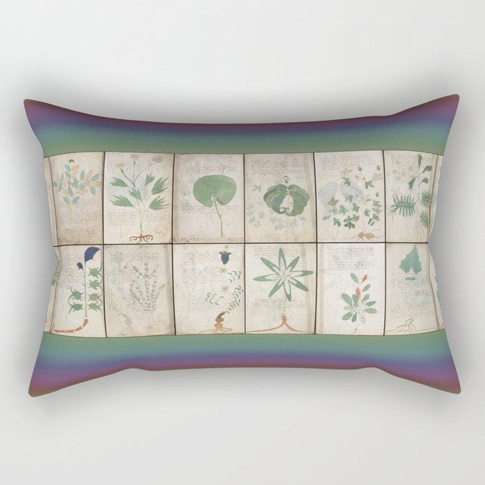 The Voynich Manuscript Quire 1 - Natural Rectangular Pillow
