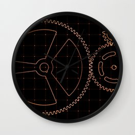 Set of red gears and cogs on virtual screen Wall Clock