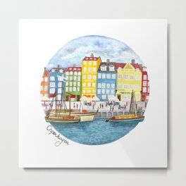 Copenhagen Watercolour Metal Print