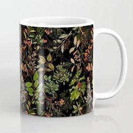 Vintage & Shabby Chic - vintage botanical wildflowers and berries on black Coffee Mug