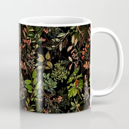 Vintage & Shabby Chic - vintage botanical wildflowers and berries on black Coffee Mug