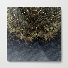 Stylish Gold floral mandala and confetti Metal Print