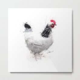 Light Sussex Hen Metal Print