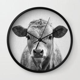 Cow 2 - Black & White Wall Clock