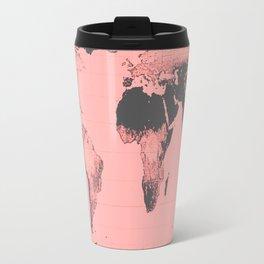 World Map: Gall Peters Pink Travel Mug