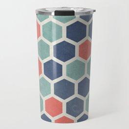 Honeycomb Geometrics, Vintage, Throw-Pillows, Art-Prints Travel Mug