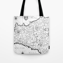 Vintage Map of Sicily Italy (1600s) BW Tote Bag