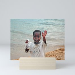Lovely Cheerful Boy Waving Portrait Mini Art Print