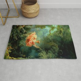 """Jean-Honoré Fragonard """"The Swing (L'Escarpolette)(The Happy Accidents of the Swing"""") Rug"""