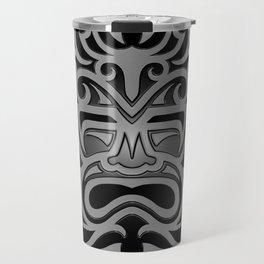 Stylish Gray and Black Mayan Mask Travel Mug