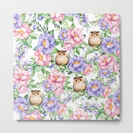 Watercolor hand painted pink lavender brown floral cute owl pattern Metal Print