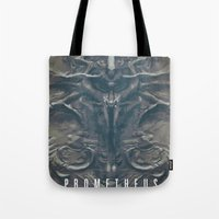 prometheus Tote Bags featuring Prometheus - A film poster by Dukesman