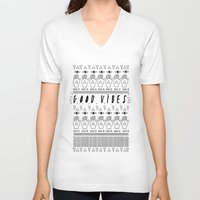 good vibes V-neck T-shirts featuring GOOD VIBES by Kris Tate