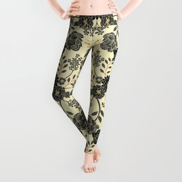Gray, Black, Cream, Yellow & Red Sophisticated Floral Pattern Leggings