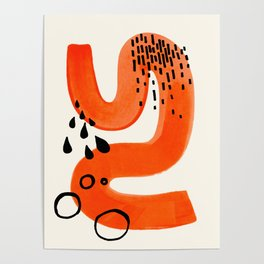Mid Century Modern abstract Minimalist Fun Colorful Shapes Patterns Orange Brush Stroke Watercolor Poster