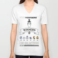 madrid V-neck T-shirts featuring REAL MADRID by sokteulu