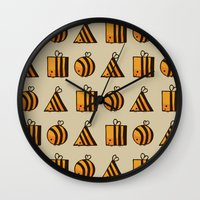 bee Wall Clocks featuring BEE DIFFERENT by Huebucket