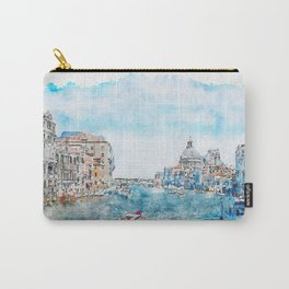 Aquarelle sketch art. View from the bridge in Venice, Italy Carry-All Pouch