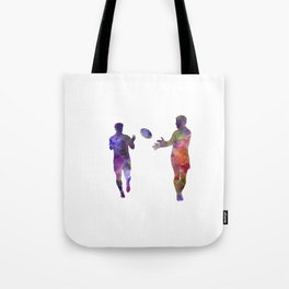 Rugby men players 04 in watercolor Tote Bag