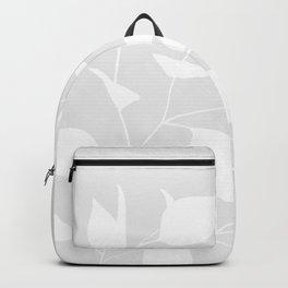 Grey & White Leaves Backpack