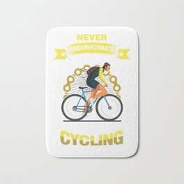 Cyclist Bicycle Fitness Exercise Gift Never Underestimate An Old Man Who Loves Cycling Bath Mat