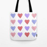carmilla Tote Bags featuring carmilla candy hearts by mircalla