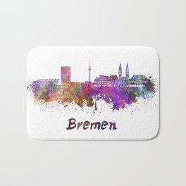 Bremen skyline in watercolor Bath Mat