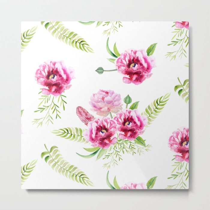 Wild Flowers Pink and Green Metal Print