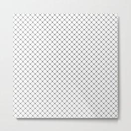 White and Black Classic Diagonal Grid Metal Print