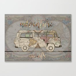 adventure awaits world map design 1 Canvas Print