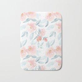 Soft Pink Watercolour Roses Bath Mat