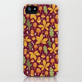 Autumn Forest Leafs and Mushrooms - Red iPhone Case
