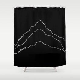 Tallest Mountains in the World / Mt Everest K2 Kanchenjunga / B&W Minimalist Line Drawing Art Print Shower Curtain