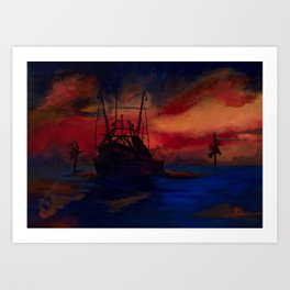 Red sky at night, sailor's delight. Art Print